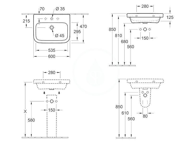 VILLEROY & BOCH - Architectura Umývadlo 600x470 mm, bez prepadu, otvor na batériu, AntiBac, alpská biela (418861T1)