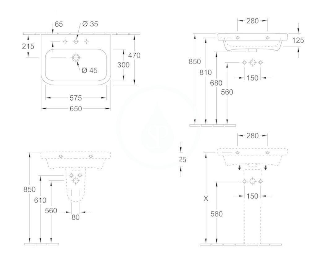 VILLEROY & BOCH - Architectura Umývadlo na dosku 650x470 mm, bez prepadu, otvor na batériu, AntiBac, alpská biela (4188KLT1)