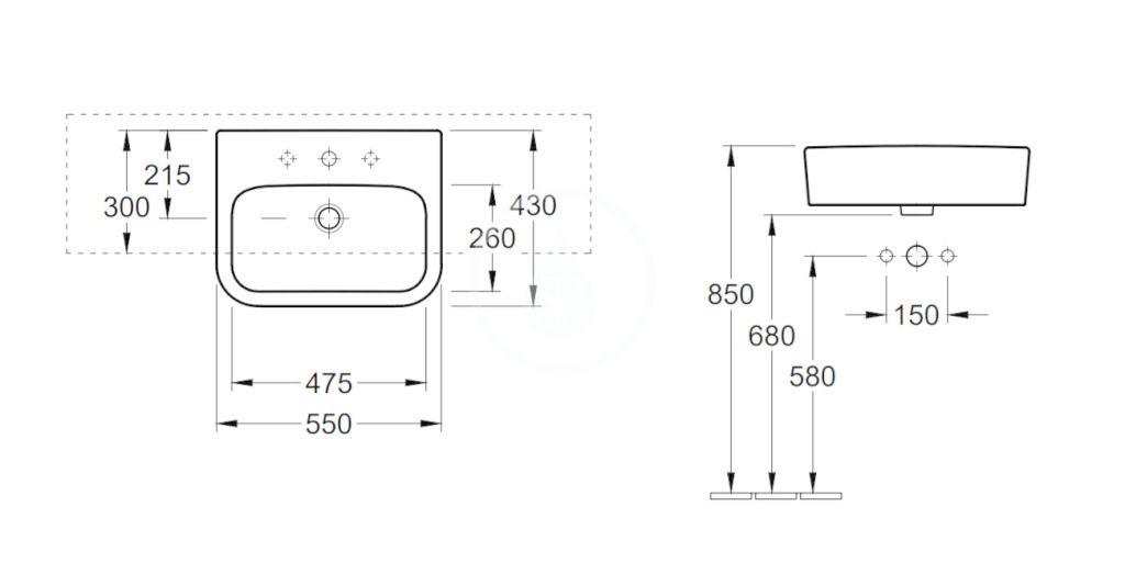 VILLEROY & BOCH - Architectura Umývadlo polozápustné 550x430 mm, bez prepadu, otvor na batériu, AntiBac, alpská biela (419056T1)