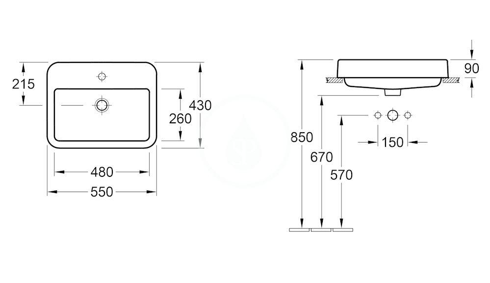 VILLEROY & BOCH - Architectura Umývadlo zápustné 550x430 mm, bez prepadu, otvor na batériu, AntiBac, alpská biela (419356T1)