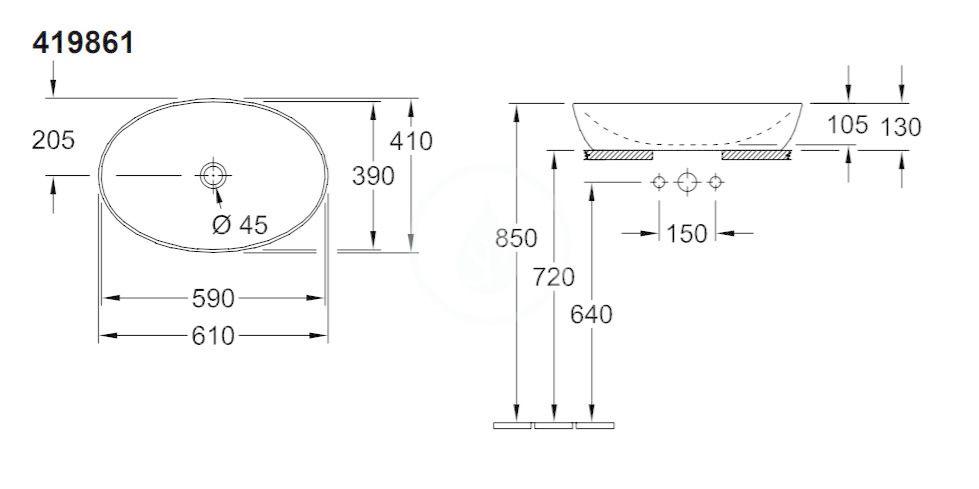 VILLEROY & BOCH - Artis Umývadlo na dosku, 610x410 mm, Cedar (419861BCW5)