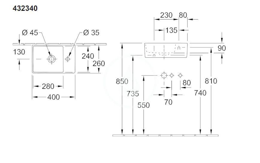 VILLEROY & BOCH - Memento 2.0 Umývadielko 400x260 mm, bez prepadu, 1 otvor na batériu, CeramicPlus, alpská biela (432340R1)