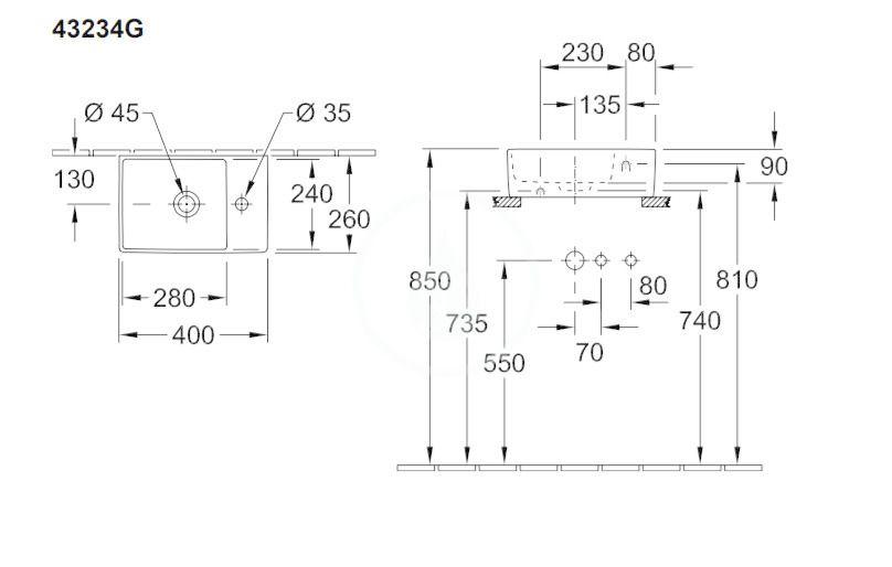 VILLEROY & BOCH - Memento 2.0 Umývadielko nábytkové 400x260 mm, bez prepadu, 1 otvor na batériu, alpská biela (43234G01)