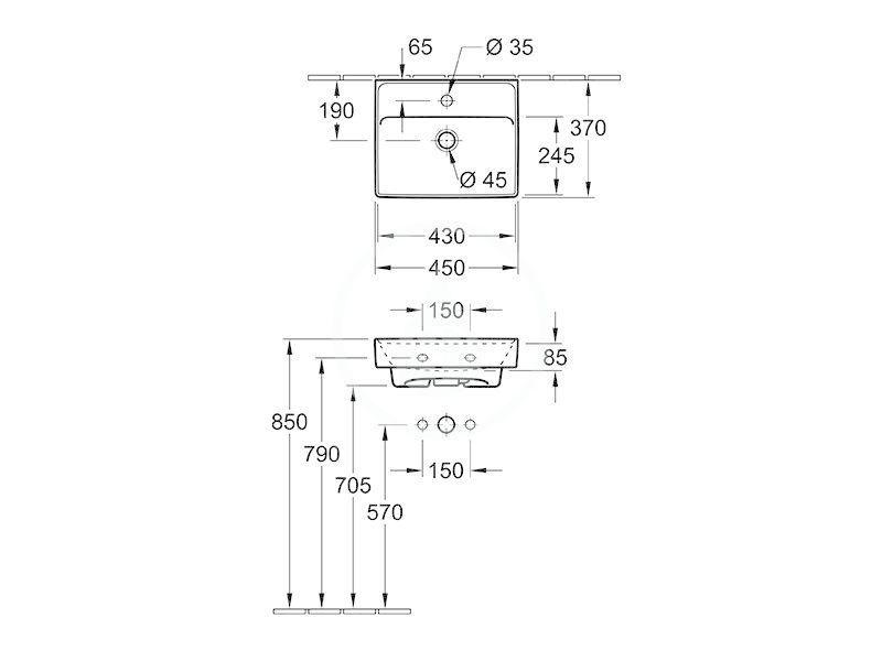 VILLEROY & BOCH - Collaro Umývadielko 450x370 mm, s prepadom, 1 otvor na batériu, CeramicPlus, Stone White (433445RW)