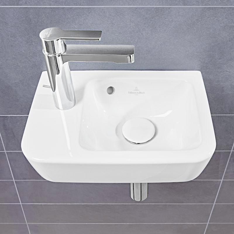 VILLEROY & BOCH - O.novo Umývadielko Compact 360x250 mm, s prepadom, 1 otvor na batériu vľavo, AntiBac, alpská biela (434236T1)