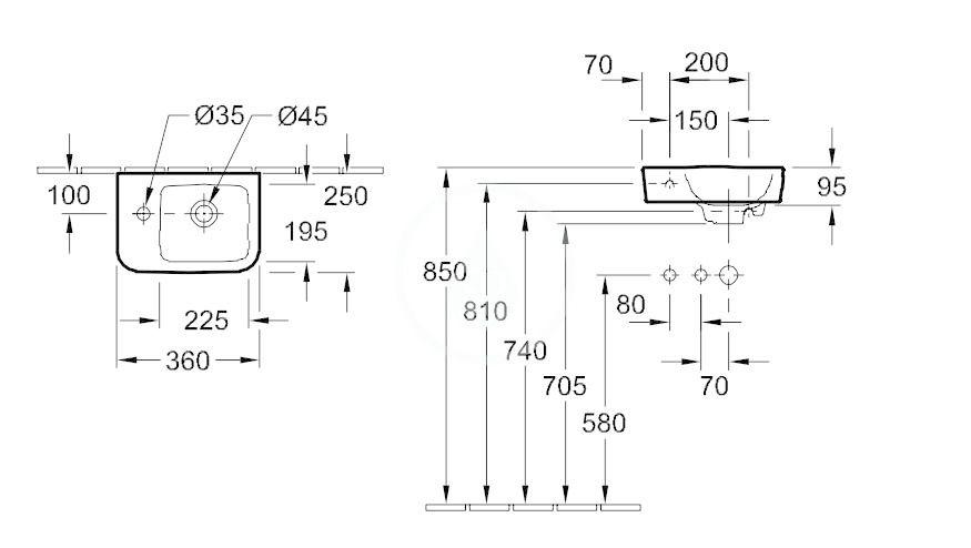 VILLEROY & BOCH - O.novo Umývadielko Compact 360x250 mm, bez prepadu, 1 otvor na batériu vľavo, AntiBac, alpská biela (434237T1)