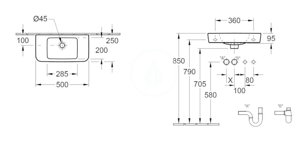 VILLEROY & BOCH - O.novo Umývadielko Compact 500x250 mm, s prepadom, bez otvoru na batériu, AntiBac, alpská biela (434252T1)