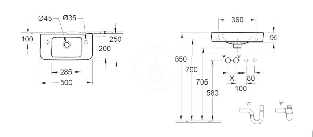 VILLEROY & BOCH - O.novo Umývadielko Compact 500x250 mm, s prepadom, 1 otvor na batériu vpravo, AntiBac, alpská biela (4342R5T1)