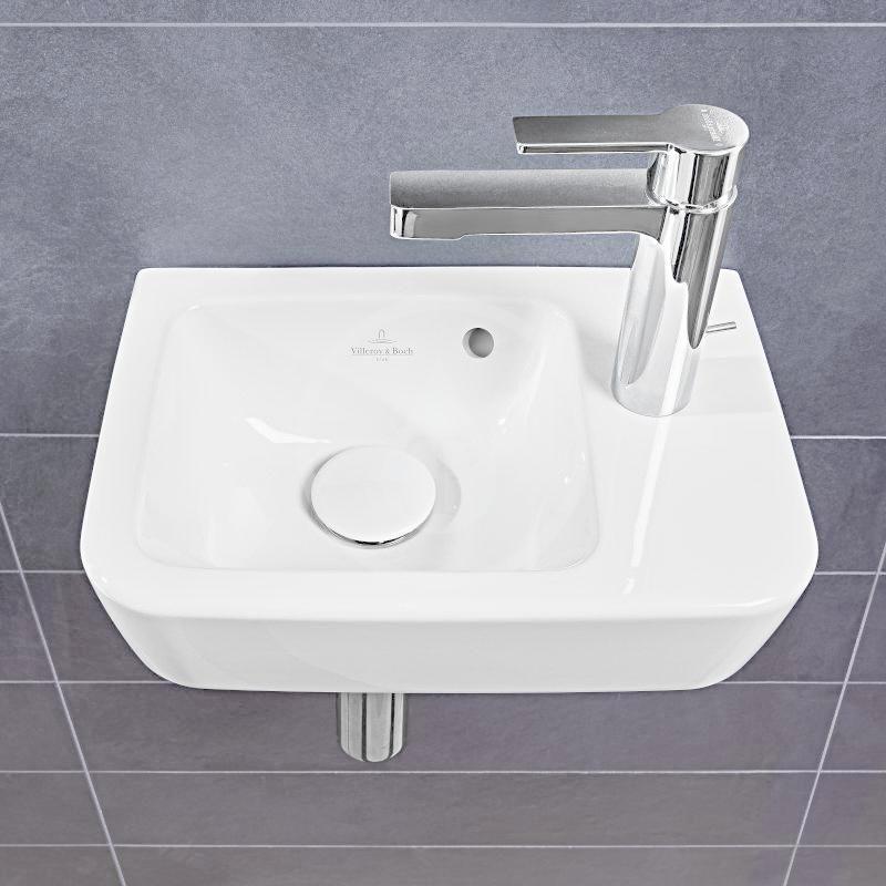 VILLEROY & BOCH - O.novo Umývadielko Compact 360x250 mm, s prepadom, 1 otvor na batériu vpravo, alpská biela (43433601)