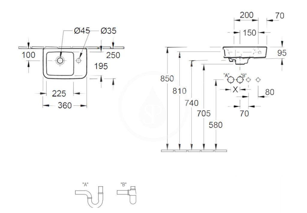 VILLEROY & BOCH - O.novo Umývadielko Compact 360x250 mm, bez prepadu, 1 otvor na batériu vpravo, AntiBac, alpská biela (434337T1)