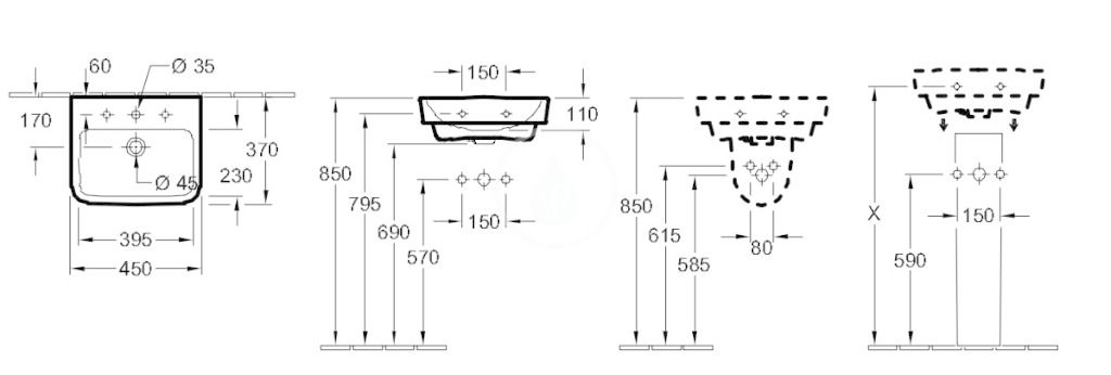 VILLEROY & BOCH - O.novo Umývadielko 450x370 mm, s prepadom, otvor na batériu, CeramicPlus, alpská biela (434445R1)