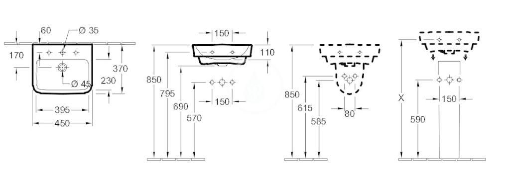 VILLEROY & BOCH - O.novo Umývadielko 450x370 mm, bez prepadu, otvor na batériu, AntiBac, alpská biela (434446T1)