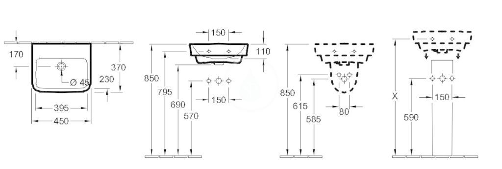 VILLEROY & BOCH - O.novo Umývadielko 450x370 mm, bez prepadu, bez otvoru na batériu, AntiBac, alpská biela (434448T1)