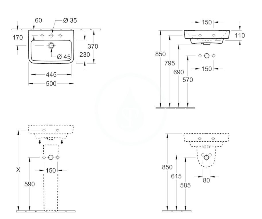 VILLEROY & BOCH - O.novo Umývadielko 500x370 mm, s prepadom, otvor na batériu, CeramicPlus, alpská biela (434450R1)
