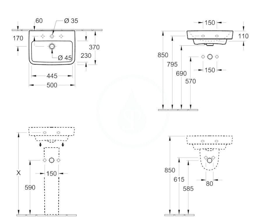 VILLEROY & BOCH - O.novo Umývadielko 500x370 mm, bez prepadu, otvor na batériu, AntiBac, alpská biela (434451T1)
