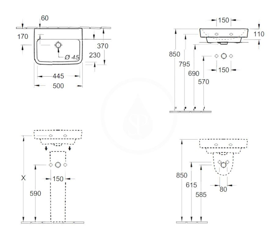 VILLEROY & BOCH - O.novo Umývadielko 500x370 mm, s prepadom, bez otvoru na batériu, AntiBac, alpská biela (434452T1)