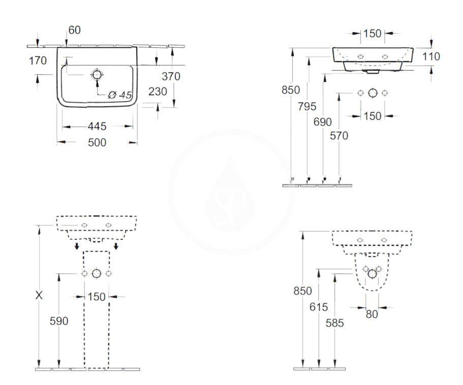 VILLEROY & BOCH - O.novo Umývadielko 500x370 mm, bez prepadu, bez otvoru na batériu, alpská biela (43445301)