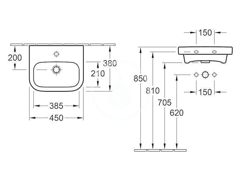 VILLEROY & BOCH - Architectura Umývadielko 450x380 mm, bez prepadu, 1 otvor na batériu, AntiBac, alpská biela (437346T1)