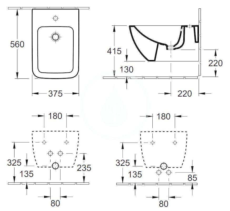 VILLEROY & BOCH - Venticello Závesný bidet, s 1 otvorom na batériu, CeramicPlus, Stone White (441100RW)