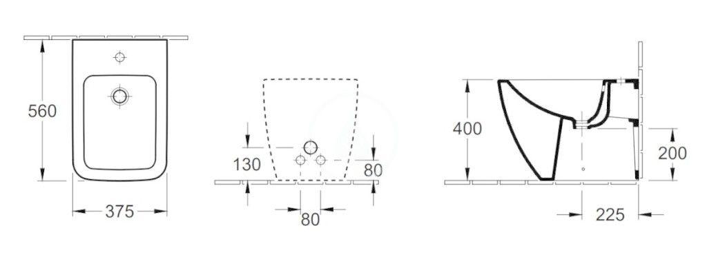 VILLEROY & BOCH - Venticello Stojaci bidet, s 1 otvorom na batériu, CeramicPlus, Stone White (441200RW)