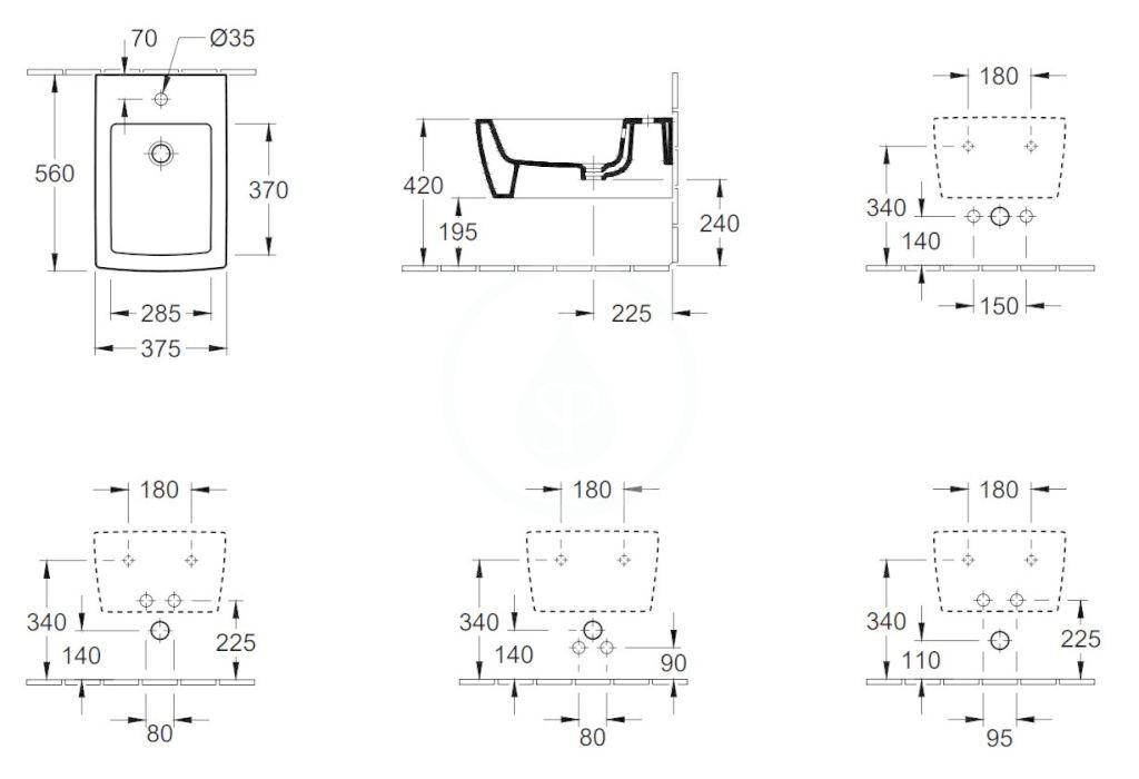VILLEROY & BOCH - Memento 2.0 Závesný bidet, s 1 otvorom na batériu, CeramicPlus, Stone White (443300RW)