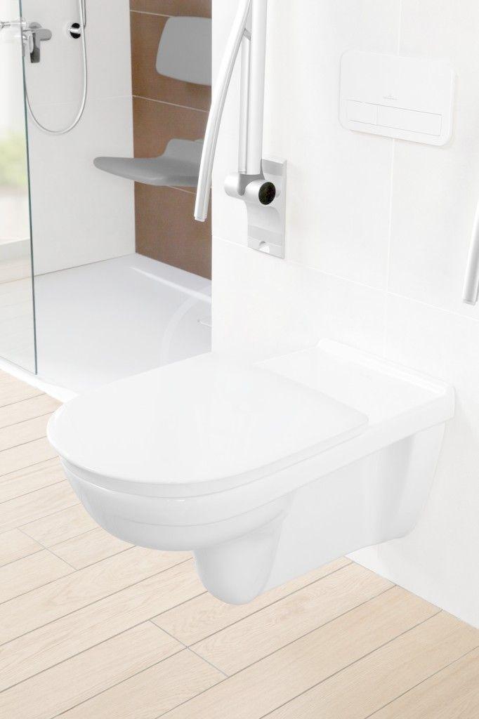 VILLEROY & BOCH - ViCare Závesné WC bezbariérové, zadný odpad, DirectFlush, AntiBac, CeramicPlus, alpská biela (4601R0T2)