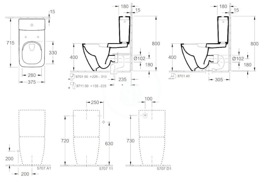 VILLEROY & BOCH - Venticello WC kombi misa, Vario odpad, DirectFlush, CeramicPlus, alpská biela (4612R0R1)