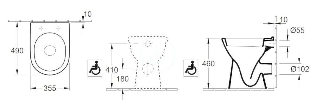VILLEROY & BOCH - ViCare Stojaci WC bezbariérové, zadný odpad, AntiBac, CeramicPlus, alpská biela (468310T2)