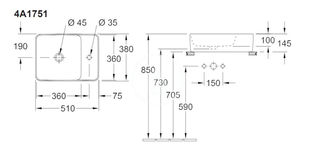 VILLEROY & BOCH - Collaro Umývadlo na dosku, 510x380 mm, bez prepadu, 1 otvor na batériu, CeramicPlus, alpská biela (4A1751R1)