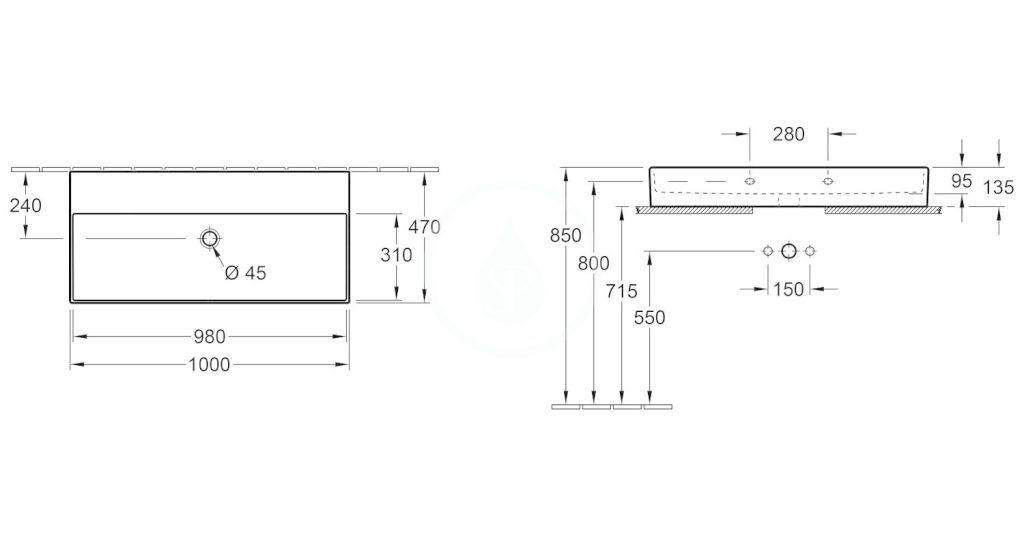VILLEROY & BOCH - Memento 2.0 Umývadlo nábytkové 1000x470 mm, bez prepadu, bez otvoru na batériu, alpská biela (4A221F01)