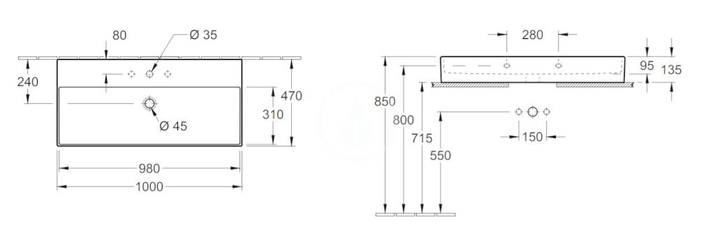 VILLEROY & BOCH - Memento 2.0 Umývadlo nábytkové 1000x470 mm, s prepadom, otvor na batériu, alpská biela (4A221G01)