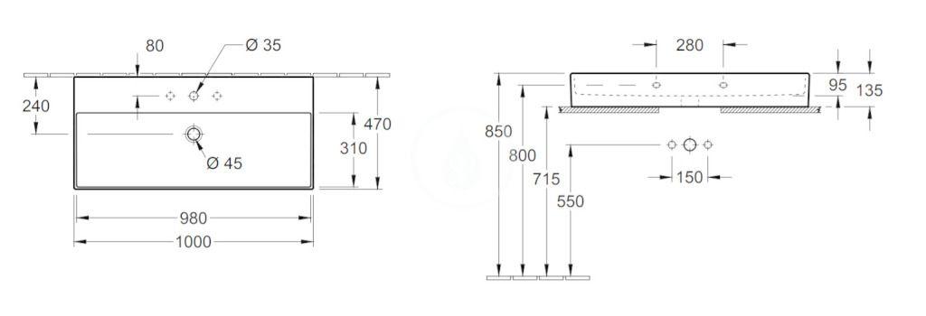 VILLEROY & BOCH - Memento 2.0 Umývadlo nábytkové 1000x470 mm, bez prepadu, otvor na batériu, CeramicPlus, alpská biela (4A221HR1)