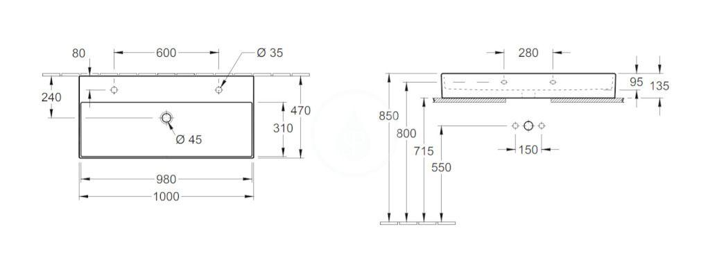 VILLEROY & BOCH - Memento 2.0 Dvojumývadlo nábytkové 1000x470 mm, bez prepadu, 2 otvory na batériu, CeramicPlus, Glossy Black (4A221KS0)