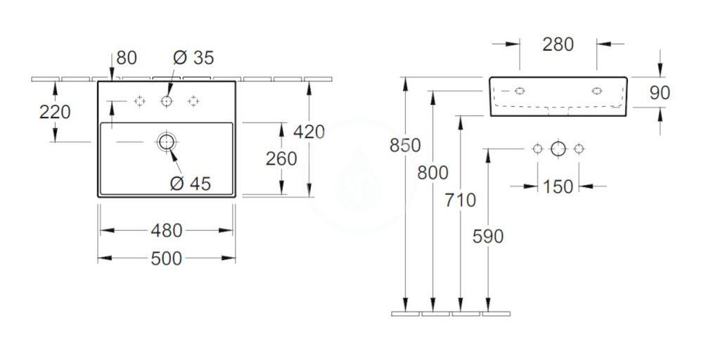 VILLEROY & BOCH - Memento 2.0 Umývadlo 500x420 mm, bez prepadu, otvor na batériu, alpská biela (4A225101)