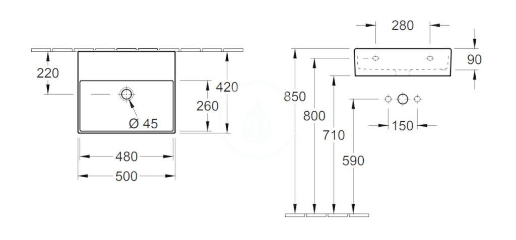 VILLEROY & BOCH - Memento 2.0 Umývadlo 500x420 mm, bez prepadu, bez otvoru na batériu, CeramicPlus, alpská biela (4A2253R1)