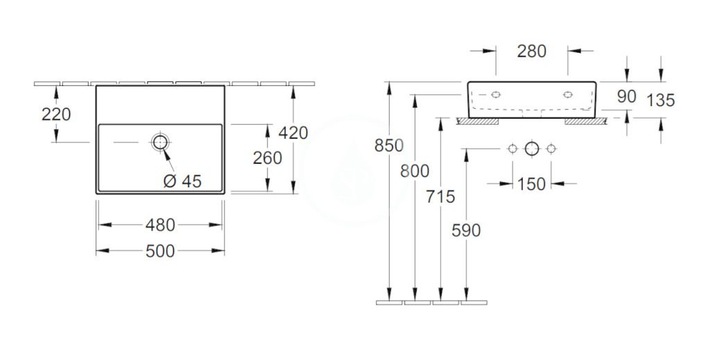 VILLEROY & BOCH - Memento 2.0 Umývadlo nábytkové 500x420 mm, bez prepadu, bez otvoru na batériu, alpská biela (4A225F01)