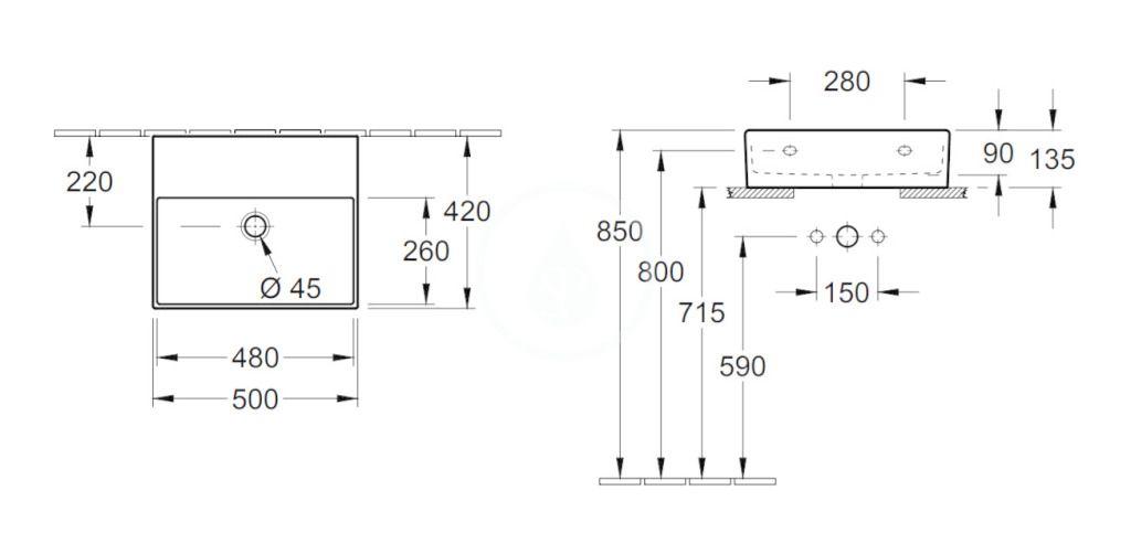 VILLEROY & BOCH - Memento 2.0 Umývadlo nábytkové 500x420 mm, bez prepadu, bez otvoru na batériu, CeramicPlus, Glossy Black (4A225FS0)