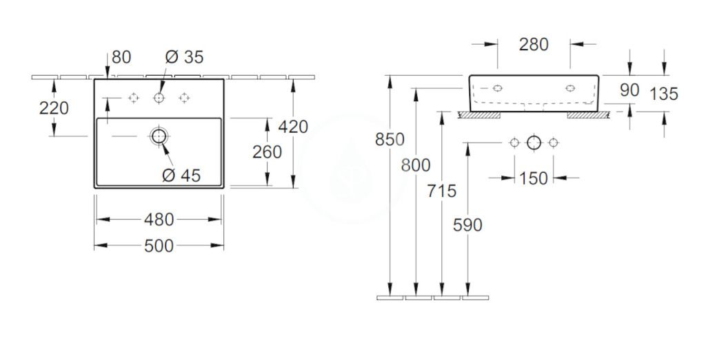 VILLEROY & BOCH - Memento 2.0 Umývadlo nábytkové 500x420 mm, s prepadom, otvor na batériu, CeramicPlus, alpská biela (4A225GR1)