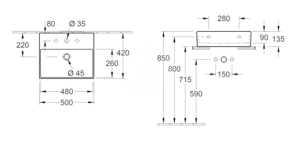 VILLEROY & BOCH - Memento 2.0 Umývadlo nábytkové 500x420 mm, bez prepadu, otvor na batériu, CeramicPlus, Glossy Black (4A225LS0)