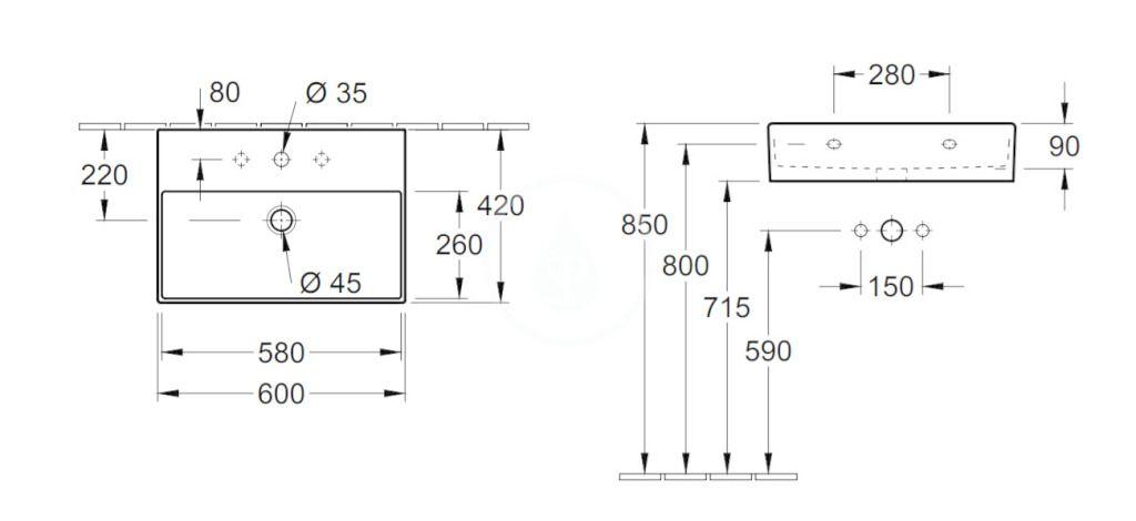 VILLEROY & BOCH - Memento 2.0 Umývadlo 600x420 mm, s prepadom, otvor na batériu, CeramicPlus, alpská biela (4A2260S0)