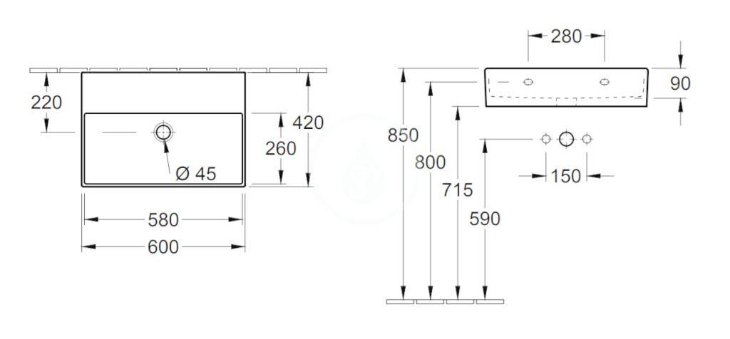 VILLEROY & BOCH - Memento 2.0 Umývadlo 600x420 mm, bez prepadu, bez otvoru na batériu, CeramicPlus, alpská biela (4A2263R1)