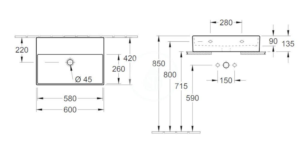 VILLEROY & BOCH - Memento 2.0 Umývadlo nábytkové 600x420 mm, bez prepadu, bez otvoru na batériu, CeramicPlus, Glossy Black (4A226FS0)