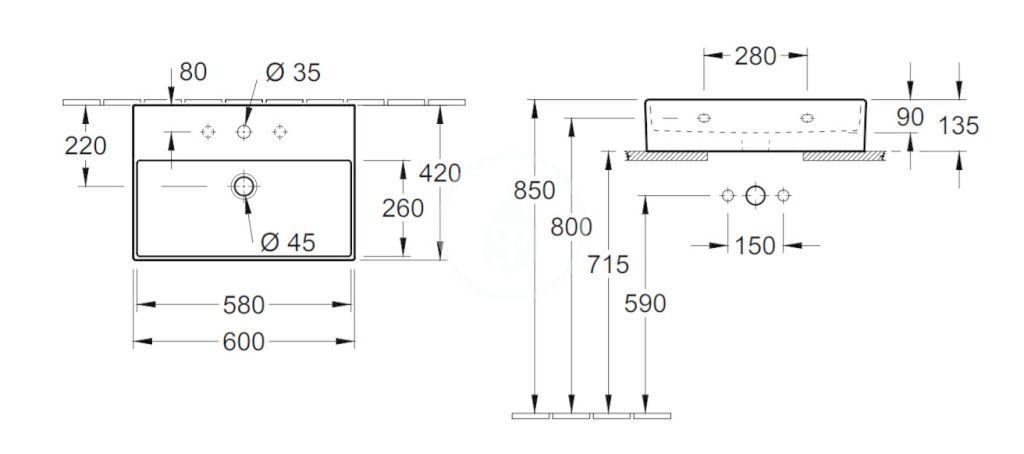 VILLEROY & BOCH - Memento 2.0 Umývadlo nábytkové 600x420 mm, bez prepadu, otvor na batériu, CeramicPlus, Glossy Black (4A226LS0)