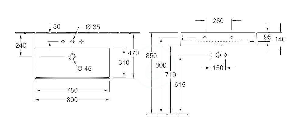 VILLEROY & BOCH - Memento 2.0 Umývadlo 800x470 mm, bez prepadu, otvor na batériu, alpská biela (4A228101)