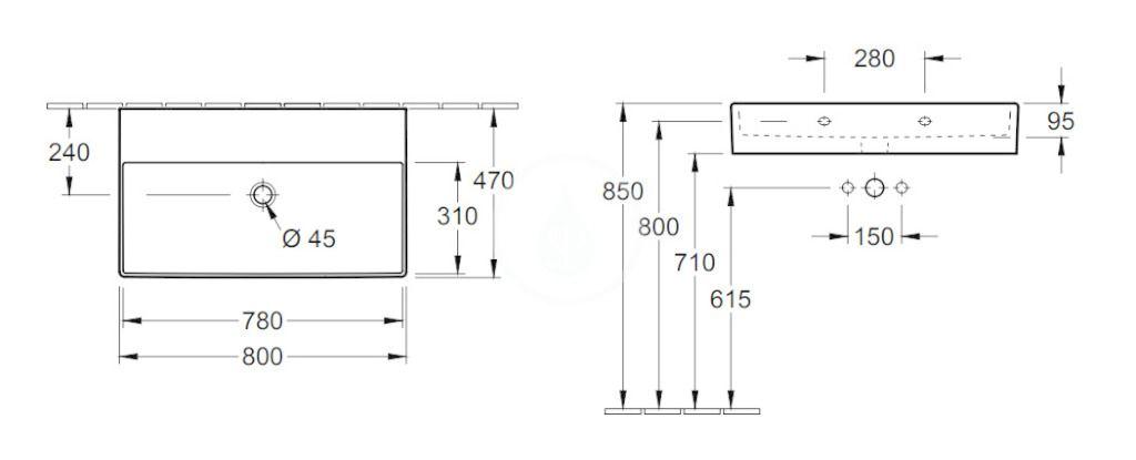 VILLEROY & BOCH - Memento 2.0 Umývadlo 800x470 mm, bez prepadu, bez otvoru na batériu, alpská biela (4A228301)