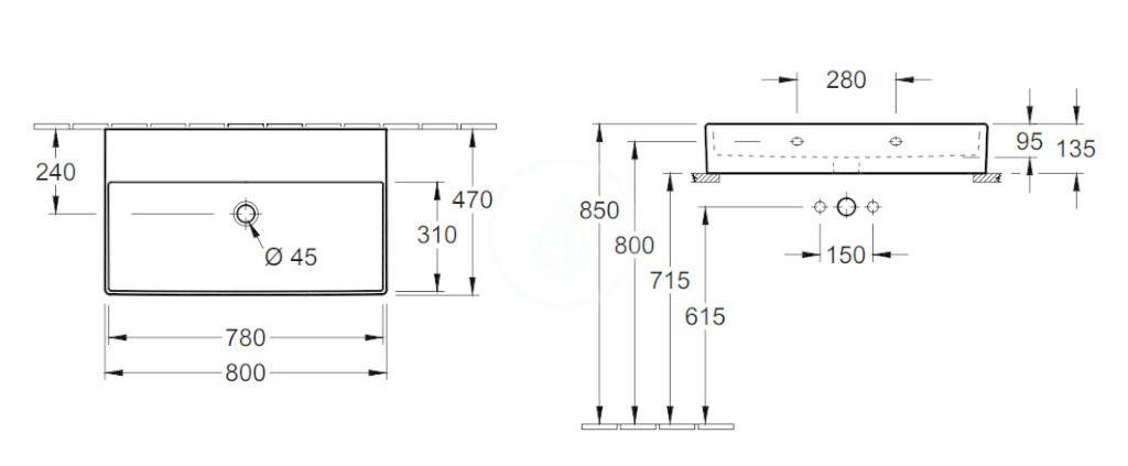 VILLEROY & BOCH - Memento 2.0 Umývadlo nábytkové 800x470 mm, bez prepadu, bez otvoru na batériu, CeramicPlus, alpská biela (4A228FR1)