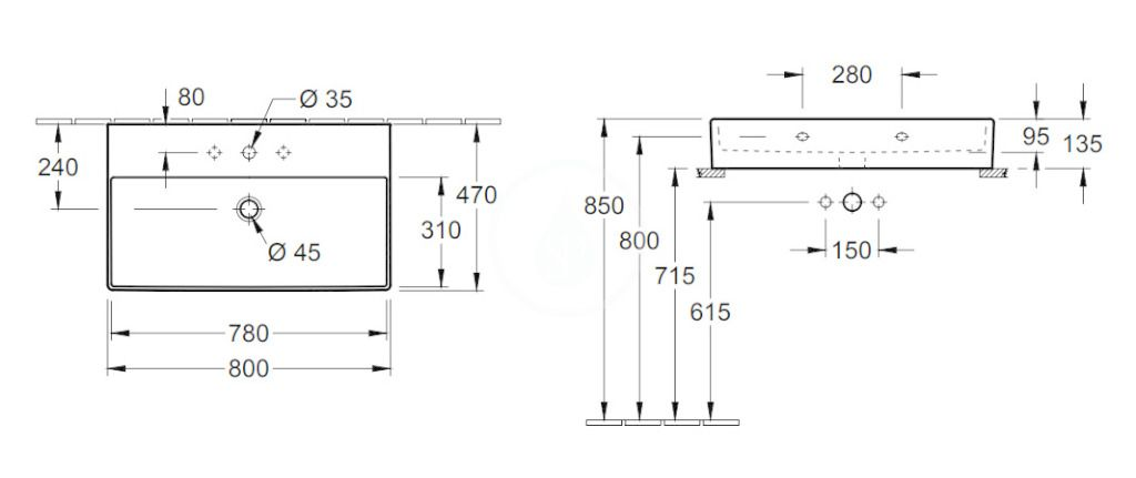 VILLEROY & BOCH - Memento 2.0 Umývadlo nábytkové 800x470 mm, s prepadom, otvor na batériu, CeramicPlus, alpská biela (4A228GR1)