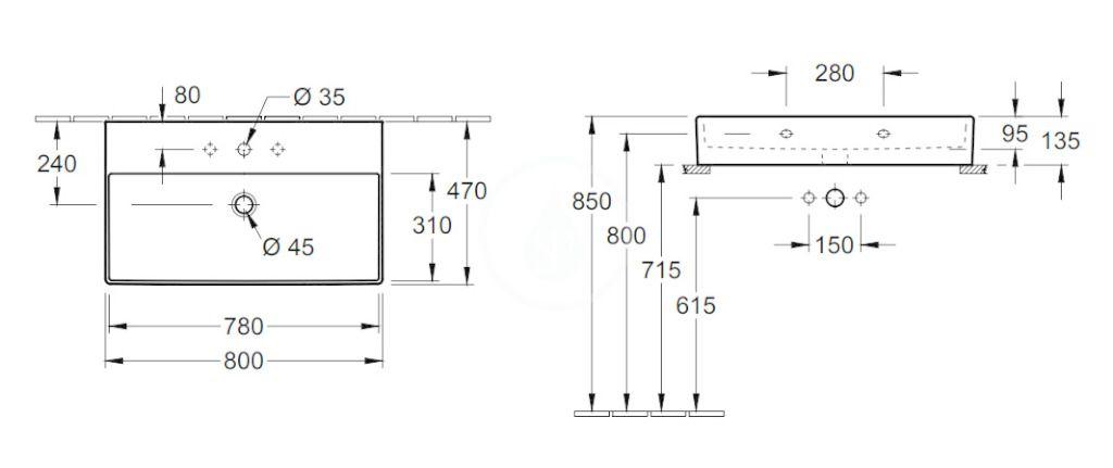 VILLEROY & BOCH - Memento 2.0 Umývadlo nábytkové 800x470 mm, s prepadom, otvor na batériu, CeramicPlus, Glossy Black (4A228GS0)