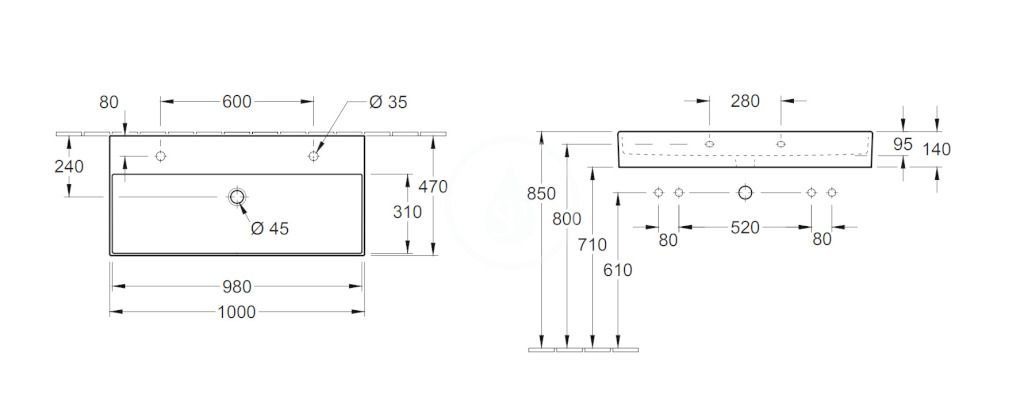 VILLEROY & BOCH - Memento 2.0 Dvojumývadlo 1000x470 mm, bez prepadu, 2 otvory na batériu, alpská biela (4A22A101)