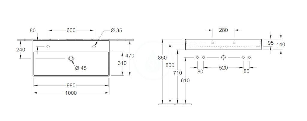 VILLEROY & BOCH - Memento 2.0 Dvojumývadlo 1000x470 mm, bez prepadu, 2 otvory na batériu, CeramicPlus, Glossy Black (4A22A1S0)